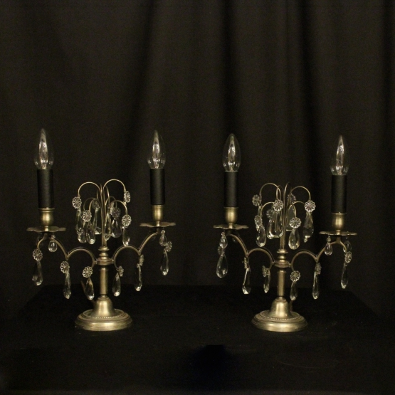 French Pair Of Silvered Twin Light Candelabra