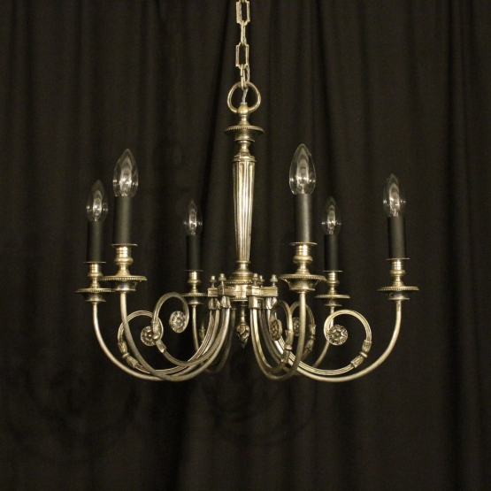 French Silver Brass 6 Light Antique Chandelier