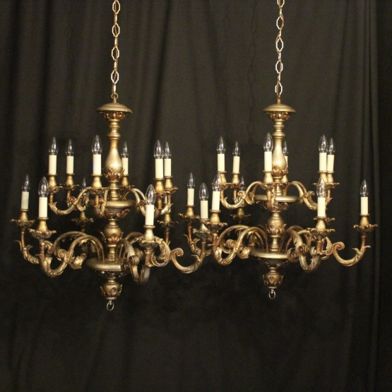 Florentine Pair Of 12 Light Chandeliers