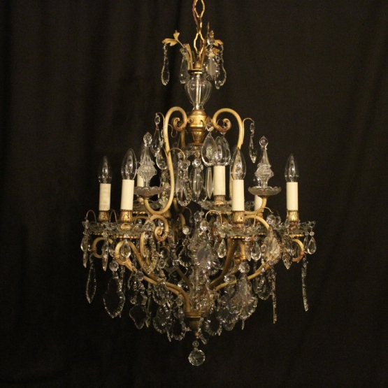 French Birdcage 10 Light Antique Chandelier