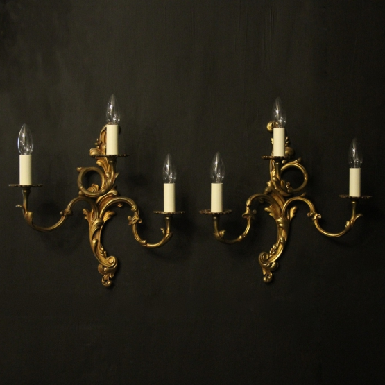 French Pair Of Gilded Bronze Antique Gasoliers