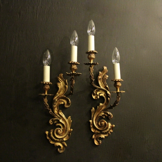 French Pair Of Gilded Antique Wall Sconces