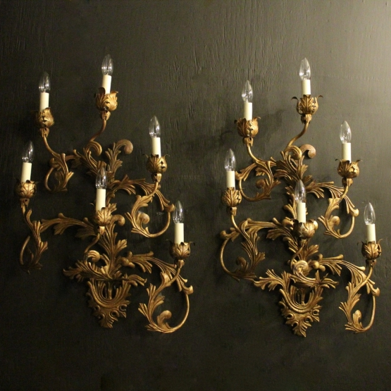 Florentine Pair Of Gilded 6 Arm Wall Lights