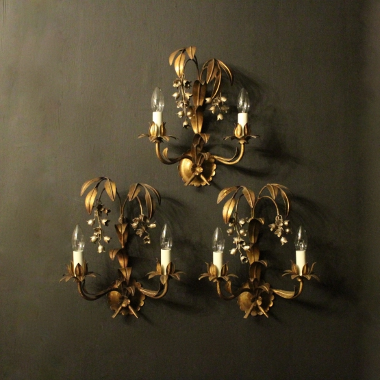 French Gilded Lily Of The Valley Wall Lights