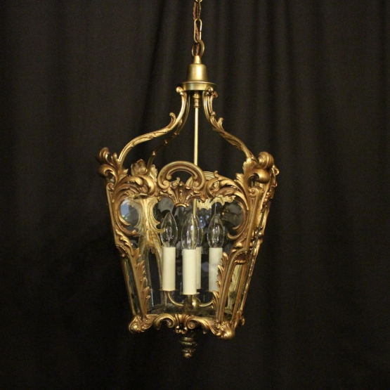 French Gilded Rococo Four Light Hall Lantern