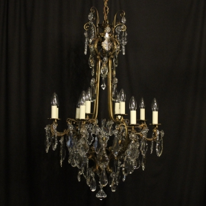French Bronze & Crystal 13 Light Chandelier