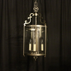 French Silver Triple Light Large Hall Lantern
