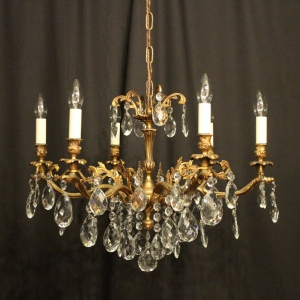 Italian Gilded 6 Light Antique Chandelier