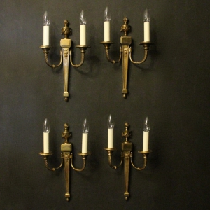 French Set Of 4 Bronze Antique Wall Lights