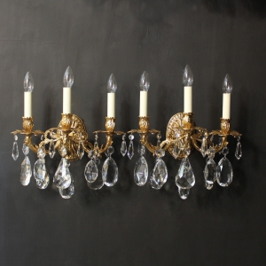 Italian Pair Of Gilded Bronze Wall Lights