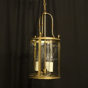 French Gilded Triple Light Convex Lantern