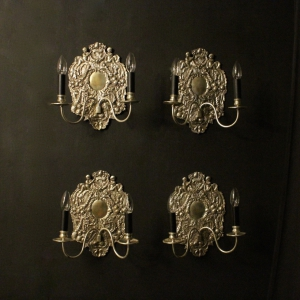 English Set Of 4 Silvered Antique Wall Lights