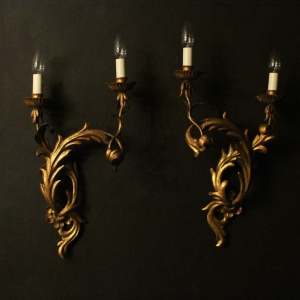 Italian Pair Of Palladio Twin Arm Wall Lights