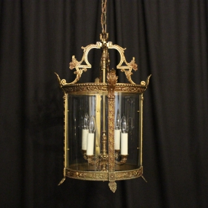 French Gilded Bronze Four Light Hall Lantern