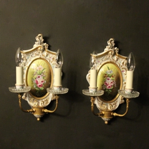 Italian Pair Porcelain Painted Wall Lights