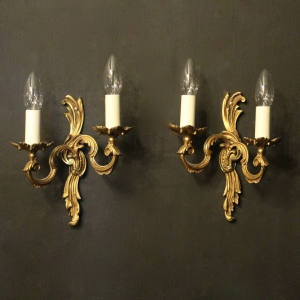 French Pair Of Twin Arm Antique Wall Lights
