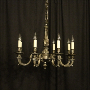 French Pewter Gilded 8 Light Chandelier
