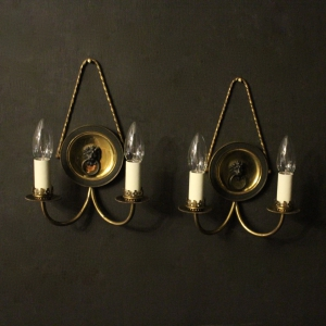 English Pair Of Lion Mask Antique Wall Lights