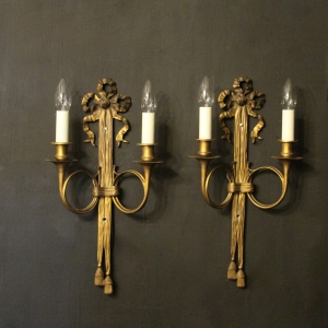 French Pair Of Ribbon Antique Wall Sconces