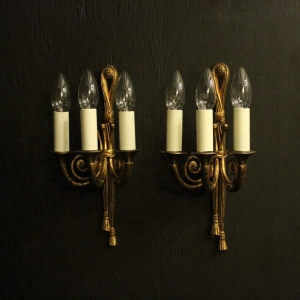 French Pair Of Gilded Rope Wall Lights