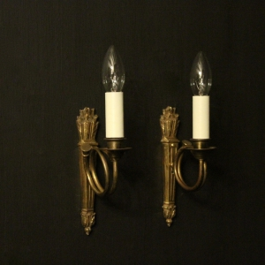 French Pair Of Single Antique Wall Lights