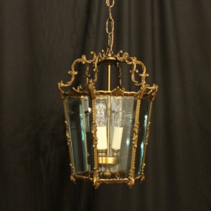 French Gilded 4 Light Convex Antique Lantern