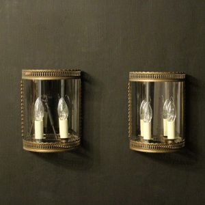 French Pair Of Toleware Convex Half lanterns