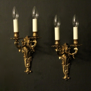 Italian Pair Of Gilded Antique Wall Lights