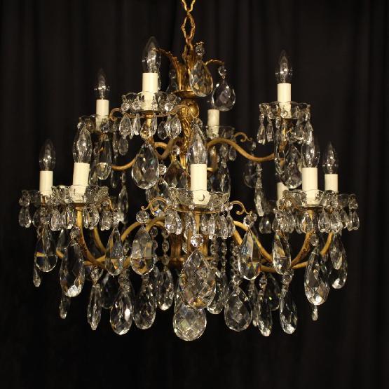 An Italian Gilded Cast Brass Amp Crystal 12 Light Double