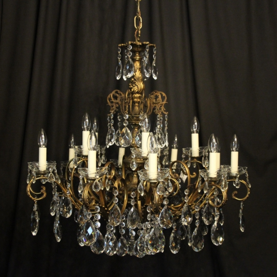 Italian Bronze & Crystal 15 Light Chandelier