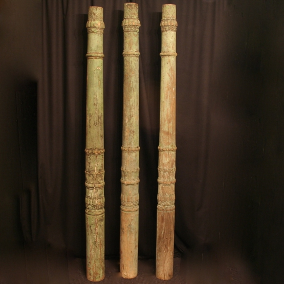 A French Set Of 3 Carved Wooden Columns