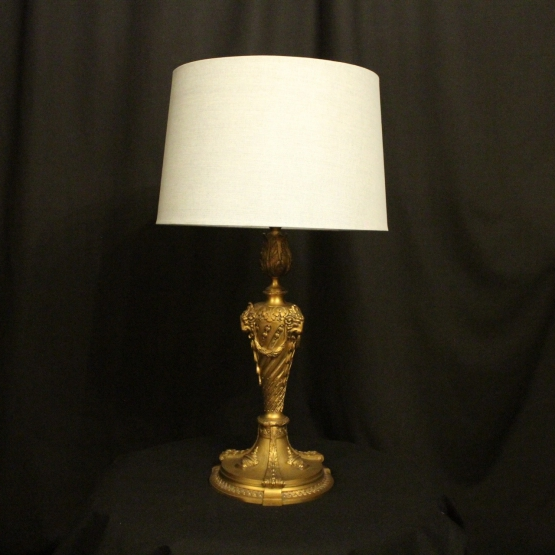 English Bronze Ram Headed Table Lamp