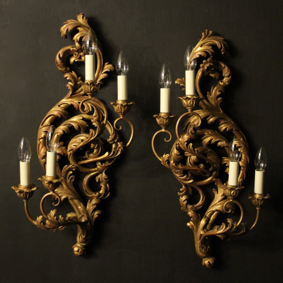 Florentine 4 Light Giltwood Antique Wall Lights