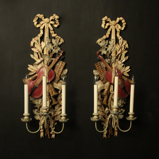 French Pair Of Cherub Antique Wall Sconces