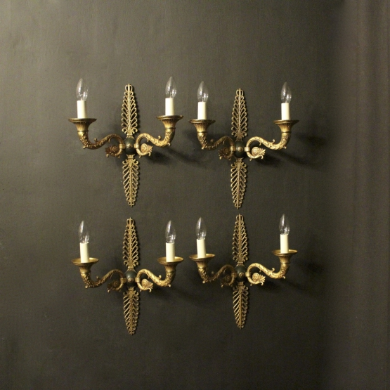 French Set Of 4 Empire Bronze Wall Lights