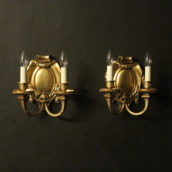 English Pair Of Bronze Antique Wall Lights