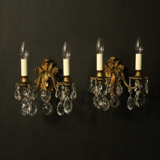 Italian Pair Of Gilded Bronze Antique Wall Lights