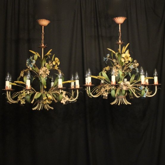 French Pair Of Toleware 8 Light Chandeliers