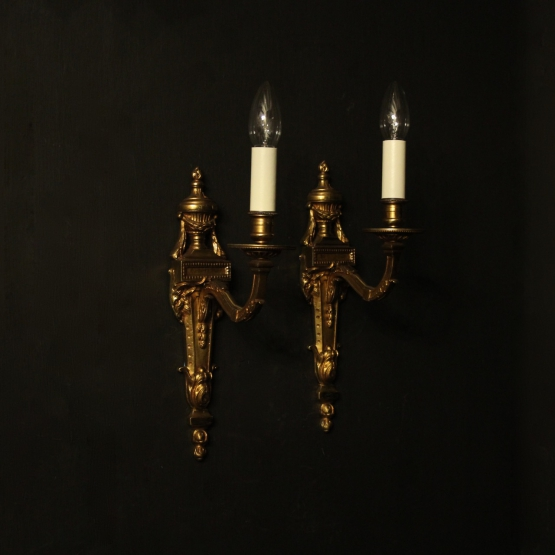 French Pair Of Bronze Single Arm Wall Lights