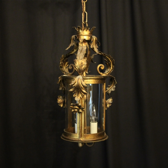 French Gilded Bronze Triple Light Hall Lantern