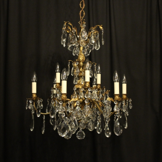 Italian Gilded Bronze 12 Light Antique Chandelier