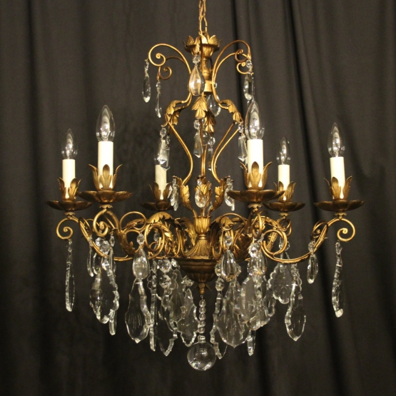 French Gilded Brass Empire 6 Light Chandelier