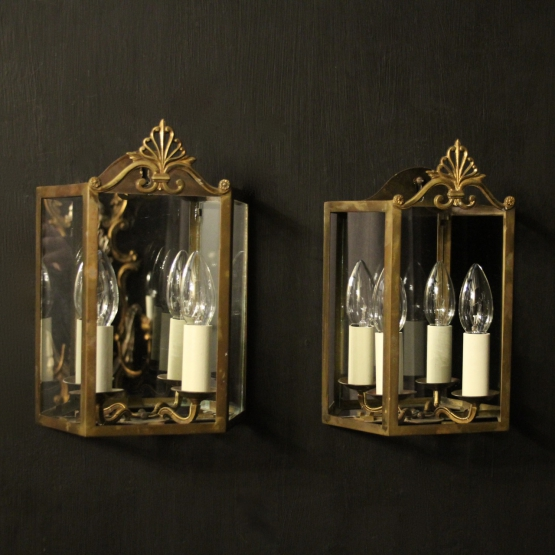 French Pair Of Gilded Antique Half lanterns
