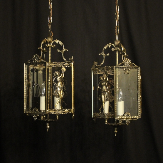 Italian Pair Of Triple Light Hall Lanterns