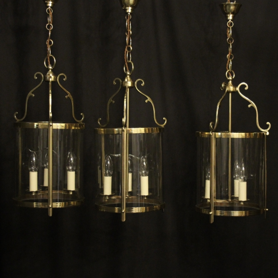 English Gilded Brass 6 Light Hall Lantern