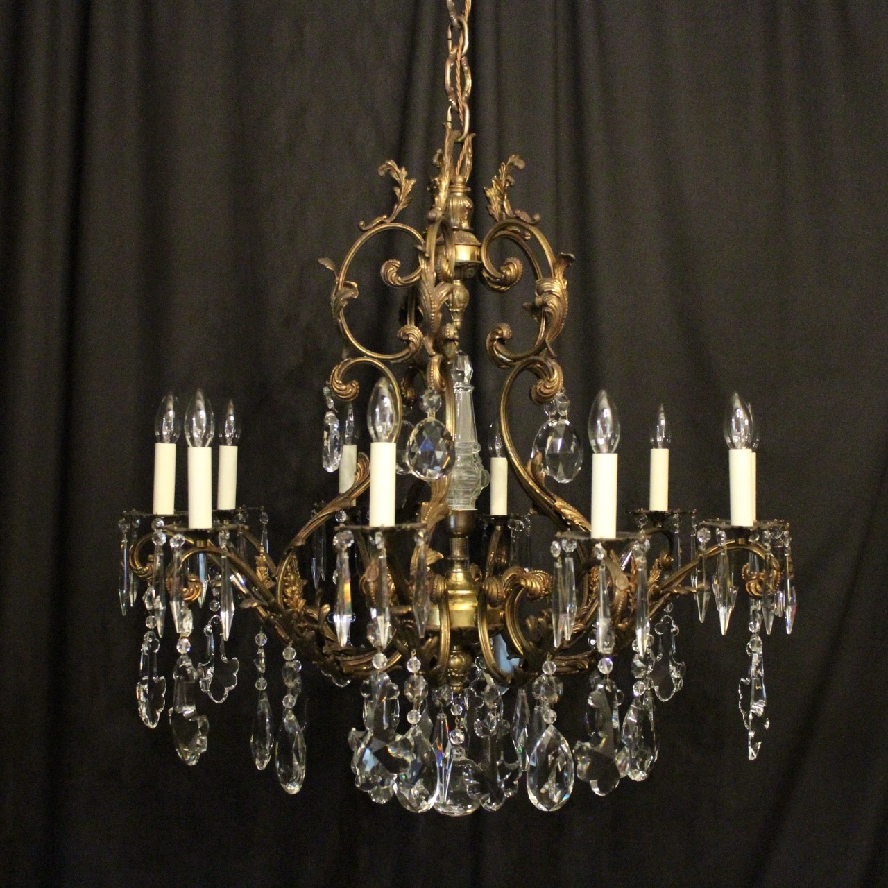 French Gilded 10 Light Antique Chandelier