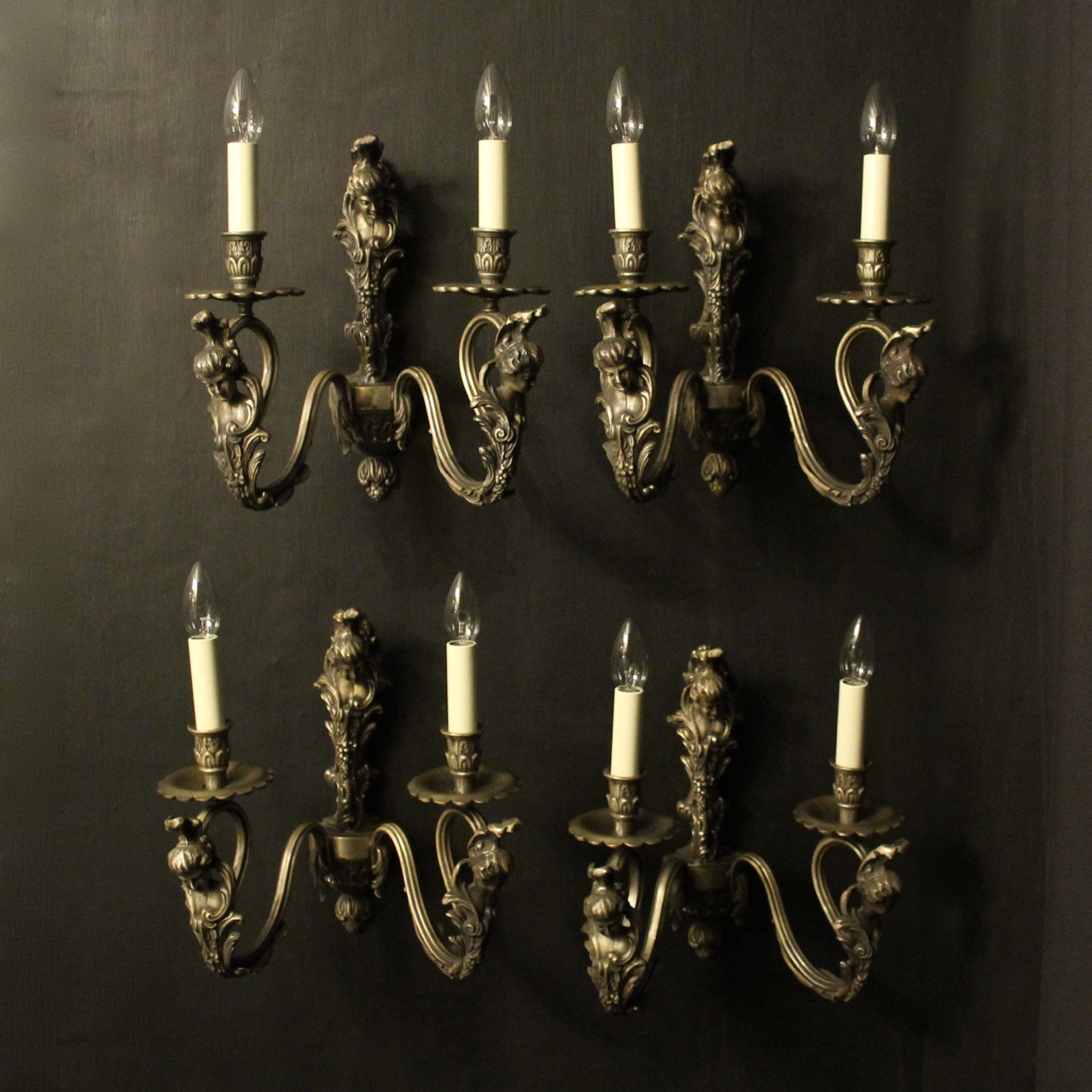 Italian Set Of 4 Silver Gilded Wall Lights