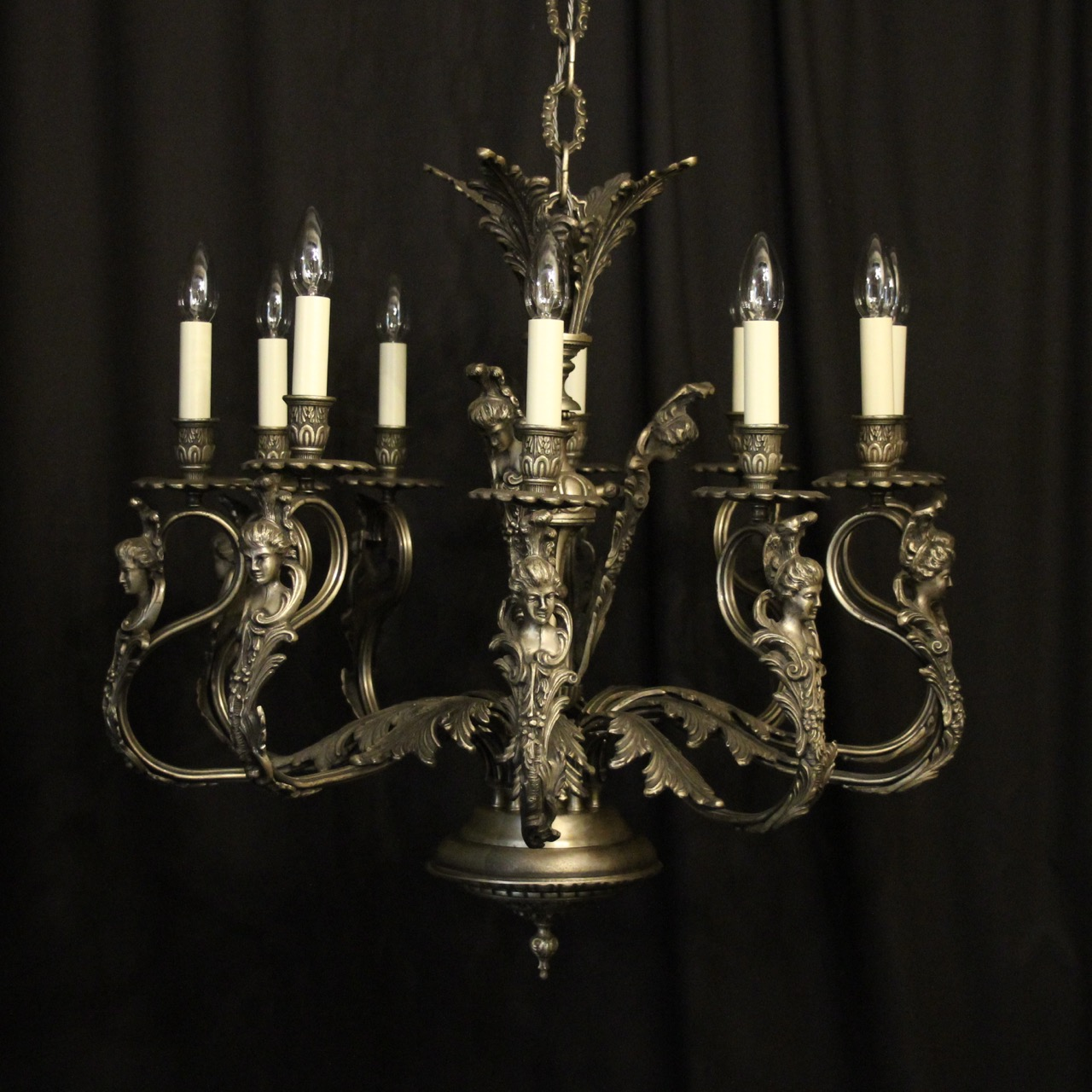 Italian Silver Gilded 10 Light Chandelier