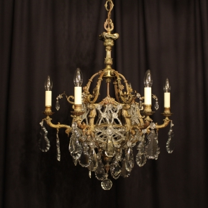 French Bronze 7 Light Antique Chandelier