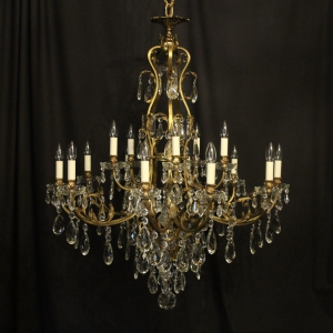 French Gilded Bronze 16 Light Antique Chandelier
